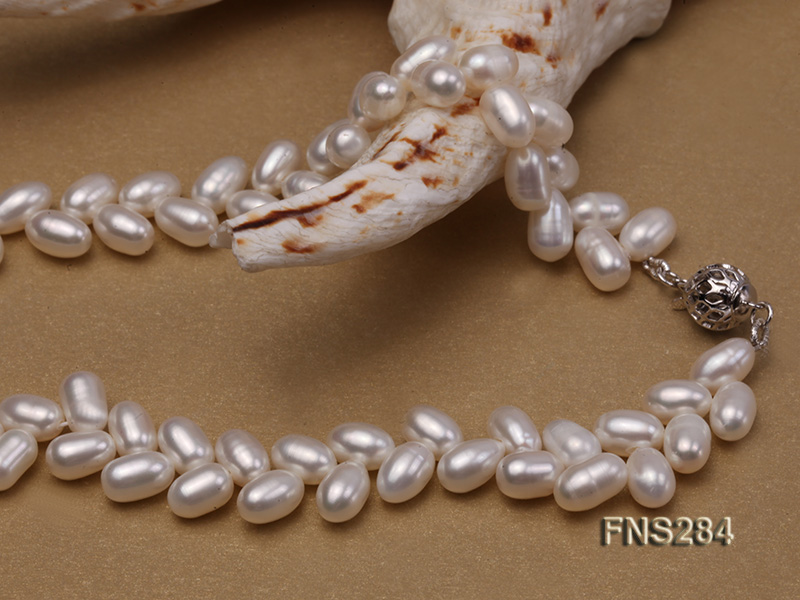 7*10mm natural white selected oval freshwater pearl single strand necklace big Image 4