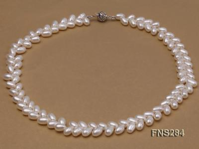 7*10mm natural white selected oval freshwater pearl single strand necklace FNS284 Image 1