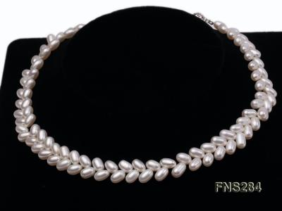 7*10mm natural white selected oval freshwater pearl single strand necklace FNS284 Image 3