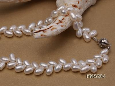 7*10mm natural white selected oval freshwater pearl single strand necklace FNS284 Image 4