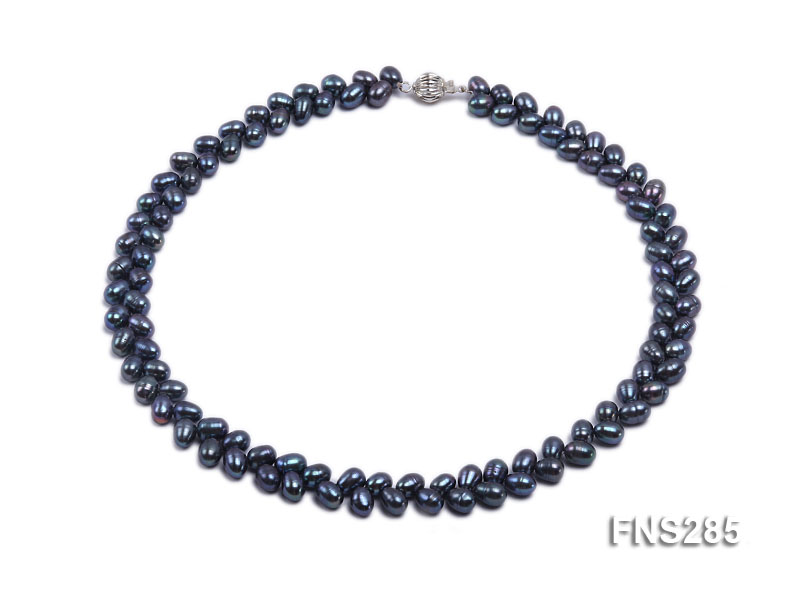 5*8mm Dark Black Oval Freshwater Pearl Single Strand Necklace big Image 1