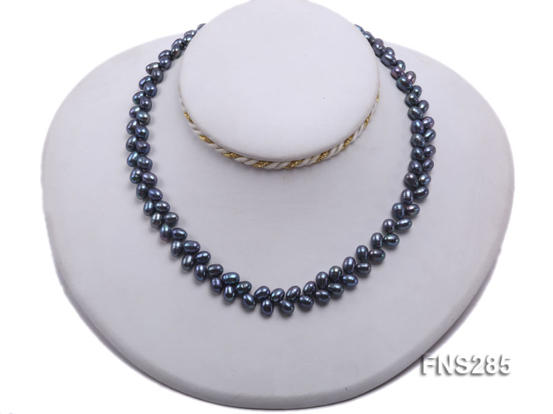 5*8mm Dark Black Oval Freshwater Pearl Single Strand Necklace big Image 5