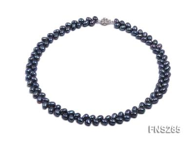 5*8mm Dark Black Oval Freshwater Pearl Single Strand Necklace FNS285 Image 1