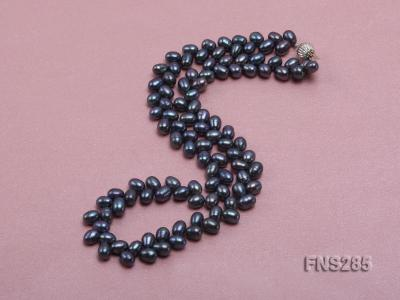 5*8mm Dark Black Oval Freshwater Pearl Single Strand Necklace FNS285 Image 2