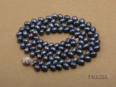 5*8mm Dark Black Oval Freshwater Pearl Single Strand Necklace FNS285 Image 3