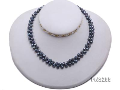 5*8mm Dark Black Oval Freshwater Pearl Single Strand Necklace FNS285 Image 5
