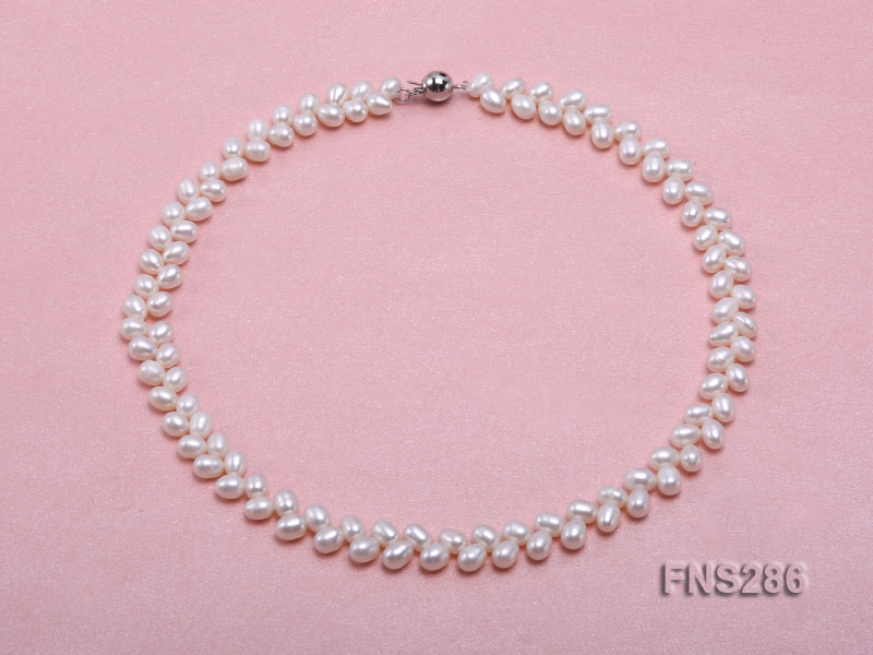 5*8mm natural white oval freshwater pearl single strand necklace big Image 1