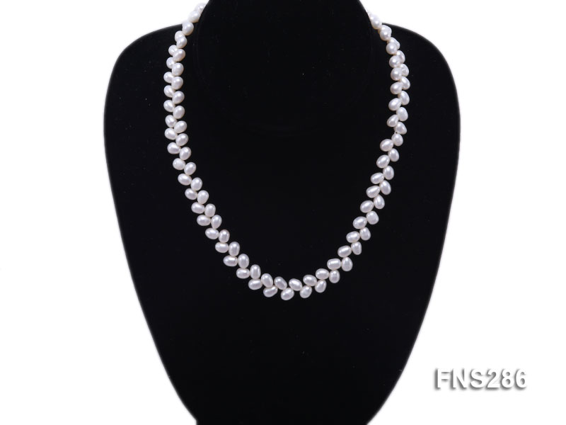 5*8mm natural white oval freshwater pearl single strand necklace big Image 5