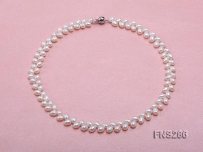 5*8mm natural white oval freshwater pearl single strand necklace FNS286 Image 1