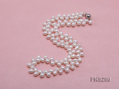 5*8mm natural white oval freshwater pearl single strand necklace FNS286 Image 2