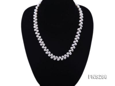 5*8mm natural white oval freshwater pearl single strand necklace FNS286 Image 5