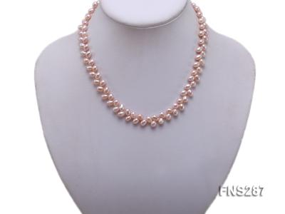 5*8mm natural lavender oval freshwater pearl single strand necklace FNS287 Image 5