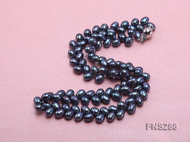 5*9mm black oval freshwater pearl single strand necklace big Image 3