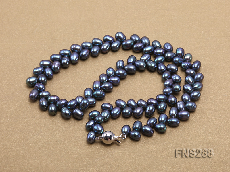 5*9mm black oval freshwater pearl single strand necklace big Image 4