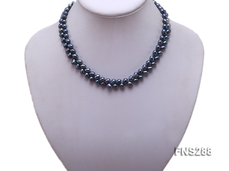 5*9mm black oval freshwater pearl single strand necklace big Image 5