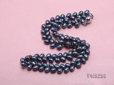 5*9mm black oval freshwater pearl single strand necklace FNS288 Image 3