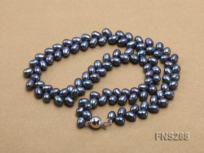 5*9mm black oval freshwater pearl single strand necklace FNS288 Image 4