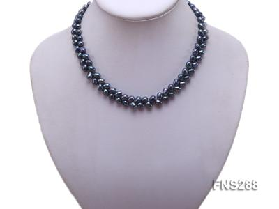 5*9mm black oval freshwater pearl single strand necklace FNS288 Image 5