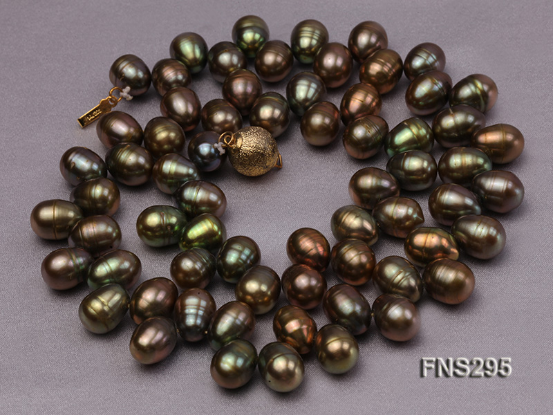 8*15mm green freshwater pearl single strand necklace big Image 4