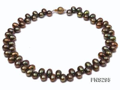 8*15mm green freshwater pearl single strand necklace FNS295 Image 1
