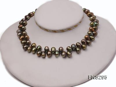 8*15mm green freshwater pearl single strand necklace FNS295 Image 3