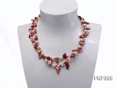 Two-strand White and coffee Cultured Freshwater Pearl Necklace FNF368 Image 3