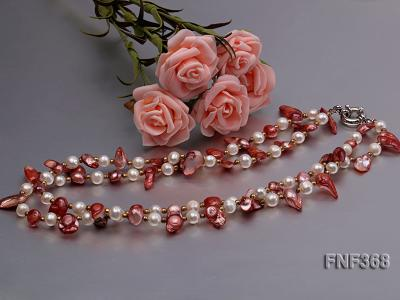 Two-strand White and coffee Cultured Freshwater Pearl Necklace FNF368 Image 4