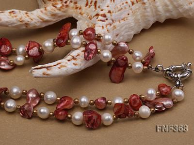 Two-strand White and coffee Cultured Freshwater Pearl Necklace FNF368 Image 5