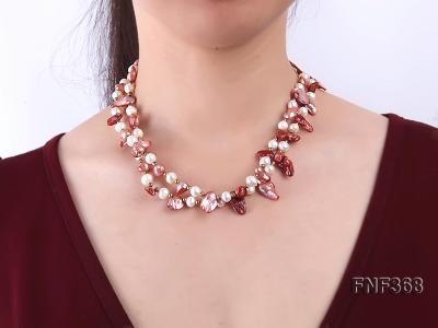 Two-strand White and coffee Cultured Freshwater Pearl Necklace FNF368 Image 2