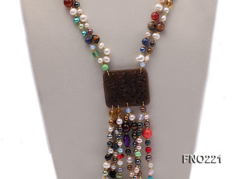 7-8mm multicolor freshwater pearl necklace with gemstone pendant big Image 2