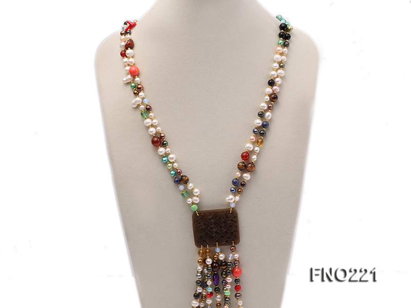 7-8mm multicolor freshwater pearl necklace with gemstone pendant big Image 3