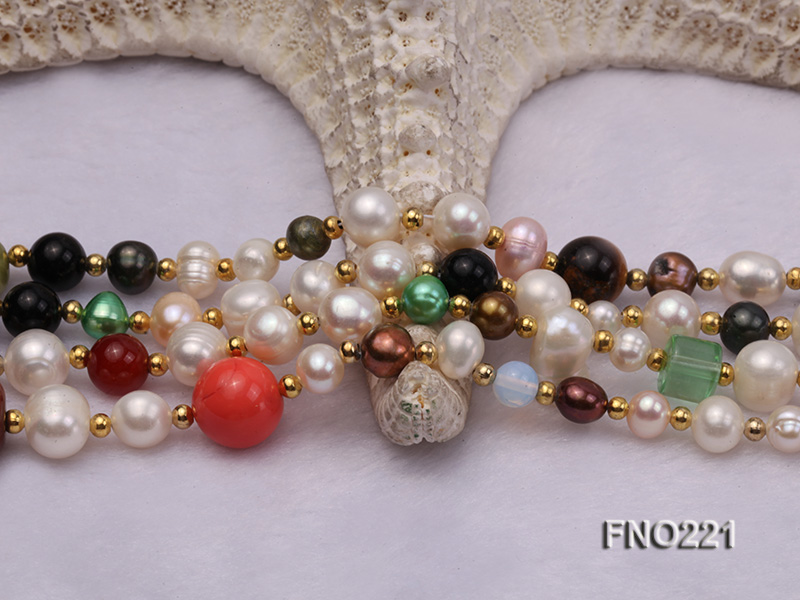 7-8mm multicolor freshwater pearl necklace with gemstone pendant big Image 5