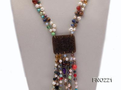 7-8mm multicolor freshwater pearl necklace with gemstone pendant FNO221 Image 2