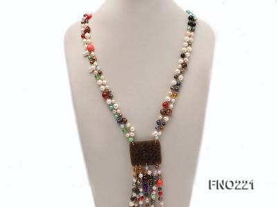 7-8mm multicolor freshwater pearl necklace with gemstone pendant FNO221 Image 3