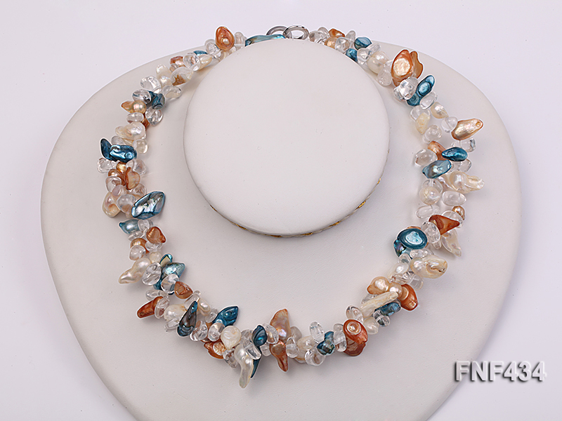 Two-strand White, Blue and Brown Baroque Freshwater Pearl Necklace with Crystal Beads big Image 1