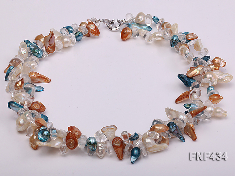 Two-strand White, Blue and Brown Baroque Freshwater Pearl Necklace with Crystal Beads big Image 2