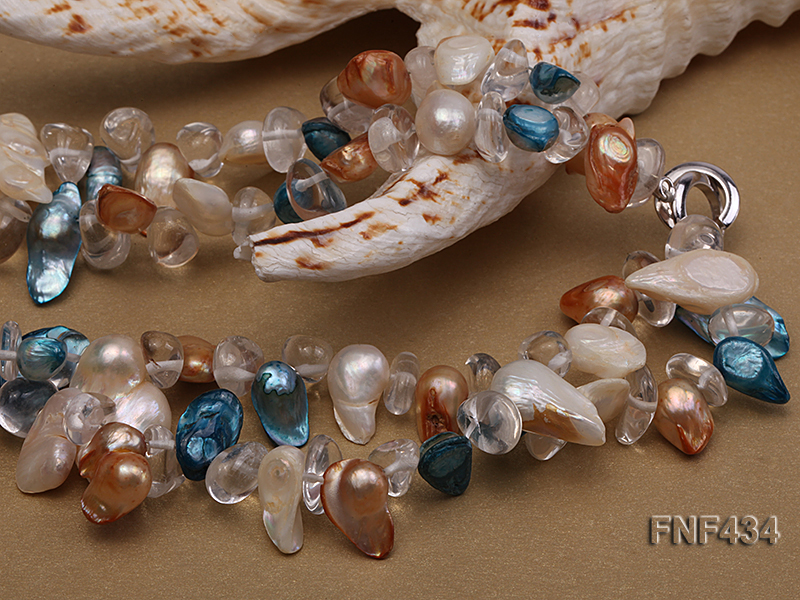 Two-strand White, Blue and Brown Baroque Freshwater Pearl Necklace with Crystal Beads big Image 3