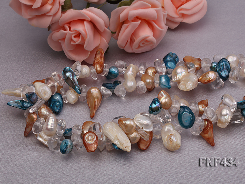 Two-strand White, Blue and Brown Baroque Freshwater Pearl Necklace with Crystal Beads big Image 4