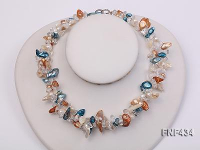 Two-strand White, Blue and Brown Baroque Freshwater Pearl Necklace with Crystal Beads FNF434 Image 1