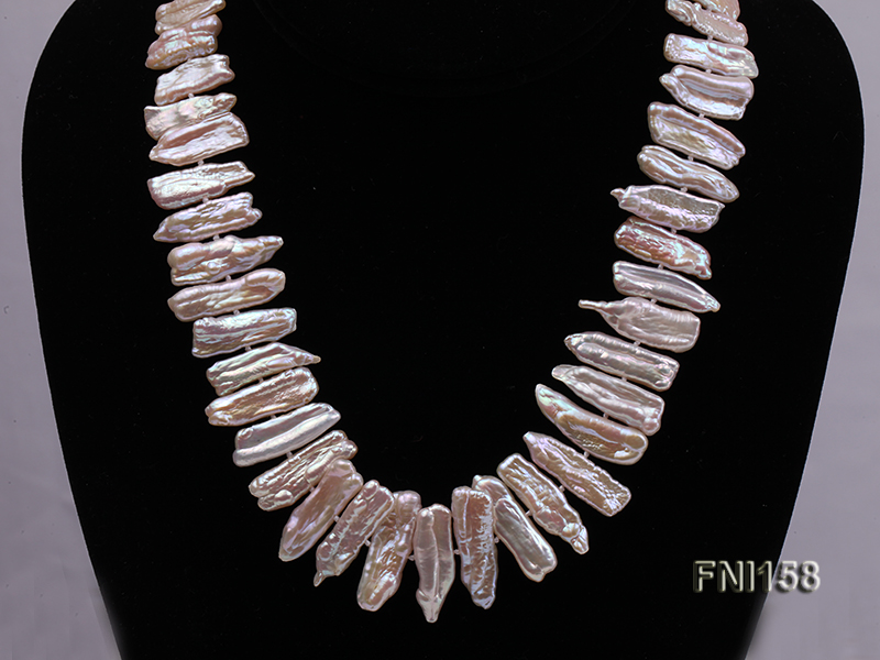 Classic 7x19-9x25mm Pink Tooth-shaped Freshwater Pearl Necklace big Image 2