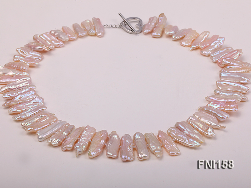 Classic 7x19-9x25mm Pink Tooth-shaped Freshwater Pearl Necklace big Image 1