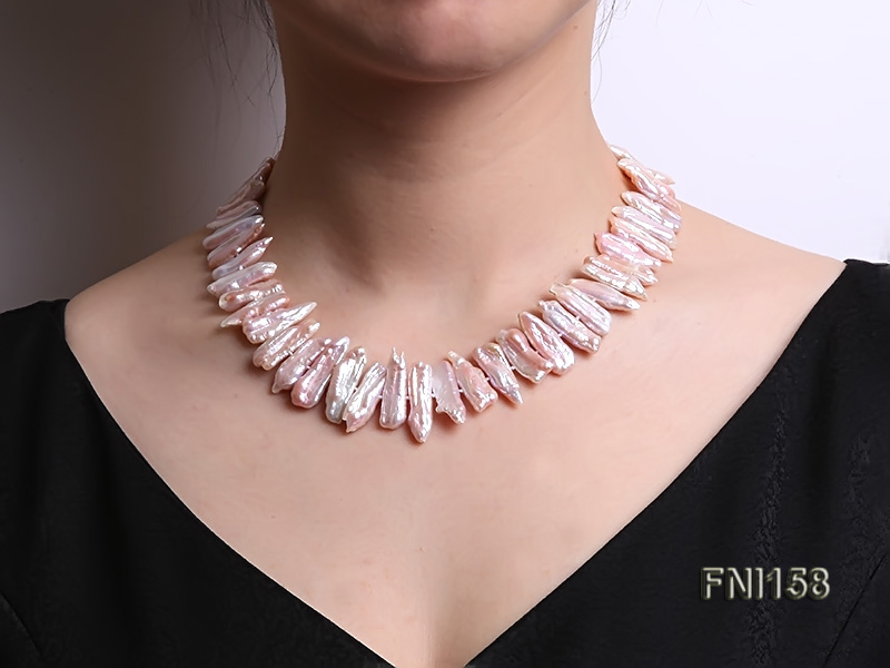 Classic 7x19-9x25mm Pink Tooth-shaped Freshwater Pearl Necklace big Image 6