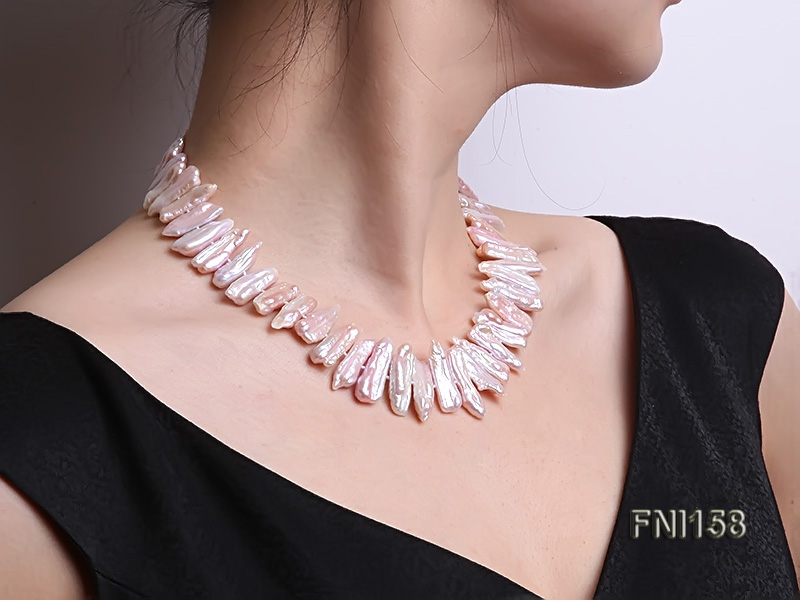 Classic 7x19-9x25mm Pink Tooth-shaped Freshwater Pearl Necklace big Image 7