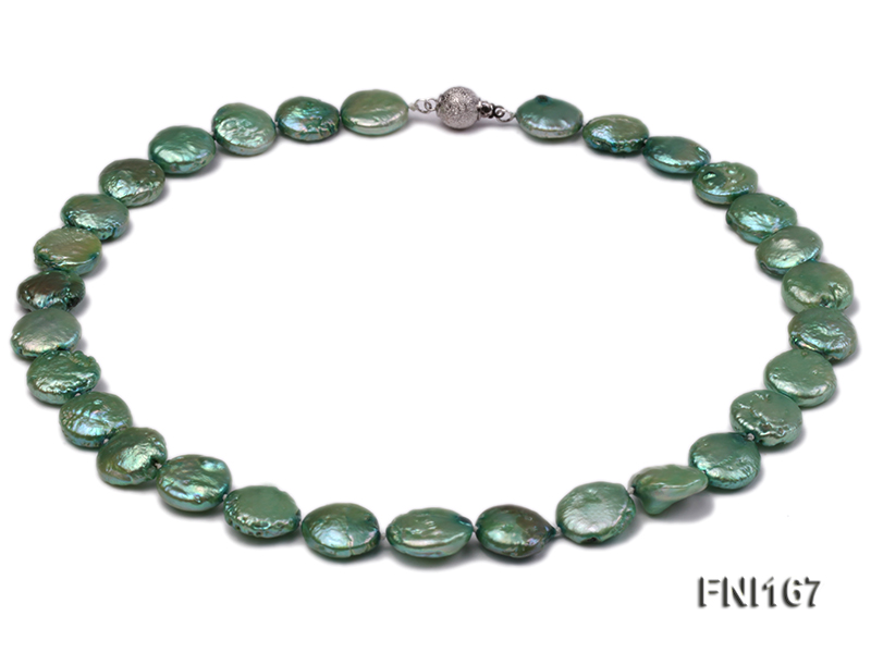 Classic 12-14mm Green Button Freshwater Pearl Necklace big Image 1