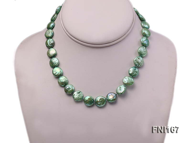 Classic 12-14mm Green Button Freshwater Pearl Necklace big Image 2