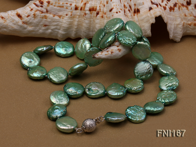 Classic 12-14mm Green Button Freshwater Pearl Necklace big Image 5