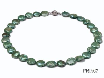 Classic 12-14mm Green Button Freshwater Pearl Necklace FNI167 Image 1