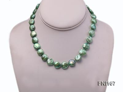 Classic 12-14mm Green Button Freshwater Pearl Necklace FNI167 Image 2