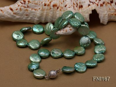 Classic 12-14mm Green Button Freshwater Pearl Necklace FNI167 Image 5