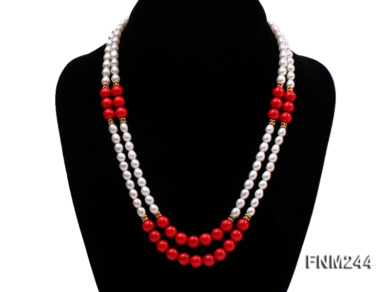 2 strand white oval freshwater pearl and coral necklace big Image 1